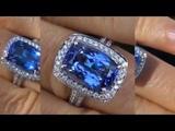TOP QUALITY VVS D-Block Tanzanite &amp Diamond Ring 18K GOLD