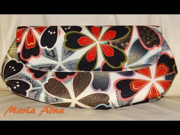 Carteira de tecido Jasmin. DIY. Exquisite and awesome fabric clutch. Fabric clutch tutorial on video