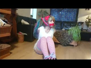 Lucy tied and gagged with bandana's and hanky's