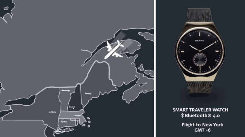 BERING Smart Traveler Bluetooth ® Watch Automatic Time Zone Switch