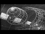 Various frameworks attached together inside a large hanger to make large airship ...HD Stock Footage