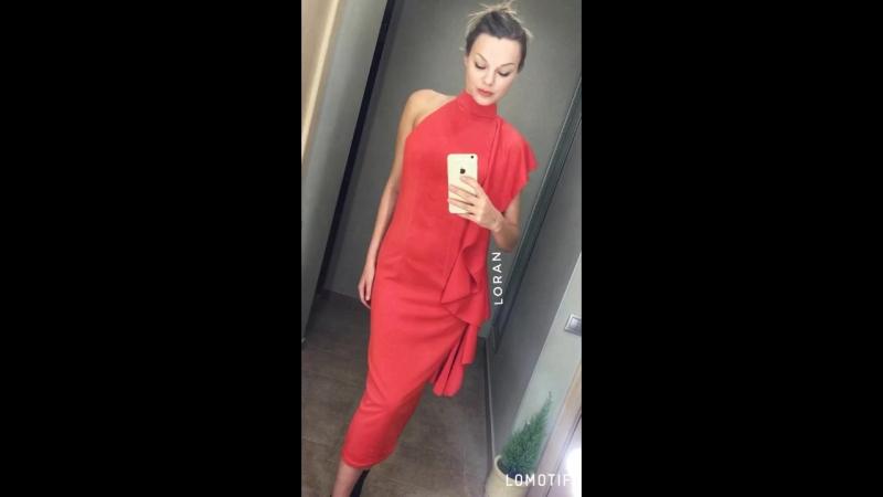 Акция!! цена ☄огненное красное платье в воланом☄ 👉🏻ассиметрия 👉🏻чокер 👉🏻открытые плечи • ✔Состав: коттонполиэстер • 🔺Размерны