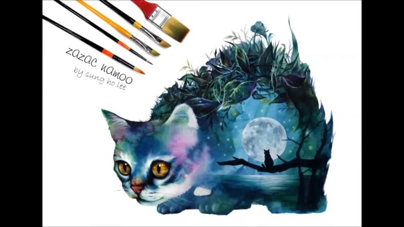 Watercolor illustration , cat drawing ,수채화배우기,수채화로 고양이 그리기