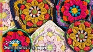 Granny mandala en CAPAS tejido a crochet / Tejiendo Perú 🥰