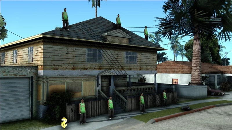 Банда Гроув Стрит охраняет территорию CJ мод для GTA San Andreas (Grove Street Protectors)
