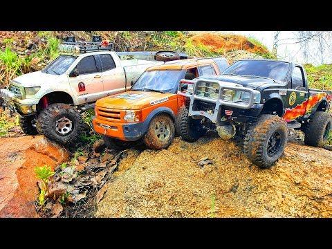 RC Cars UpHill Adventure — Ford F 350, Mitsubishi Pajero Tamiya, Land Rover Discovery 3 MST CFX