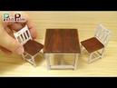 DIY How to make Miniature Table Chair Vintage Paint Tutorial Petit Palm