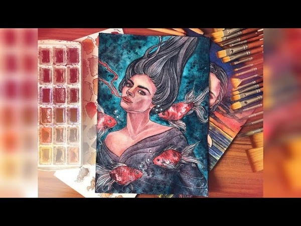 Speedpaint watercolor art Dying процесс рисования акварельного арта