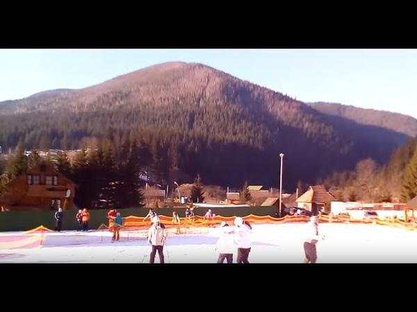 Горка Ворохтянка Учимся кататься на лыжах feb 2017