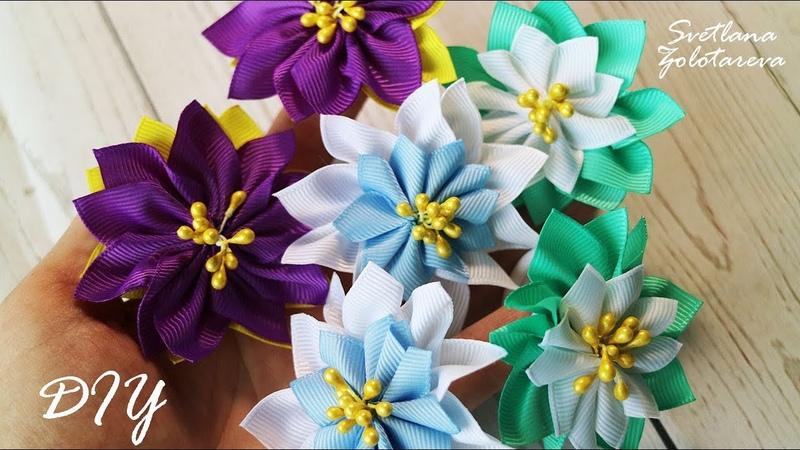 🌸 Легкие летние резинки с цветами из репсовых лент 🌸 Канзаши 🌸 Светлана Золотарева