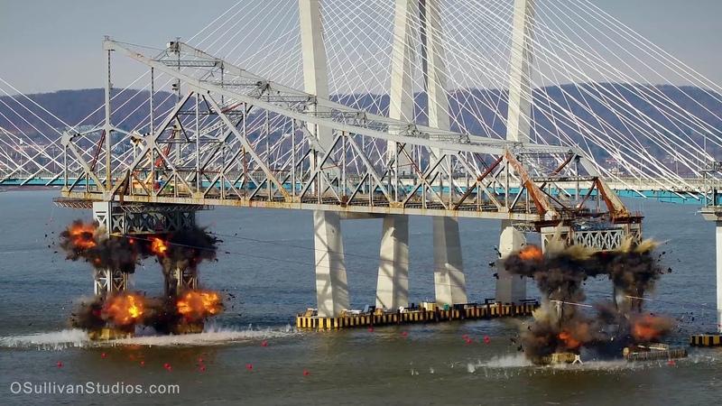 Tappan zee bridge demolition (shot with an Inspire 2)