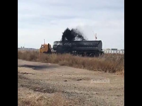 Разлив нефтепродуктов из цистерны в Якутии