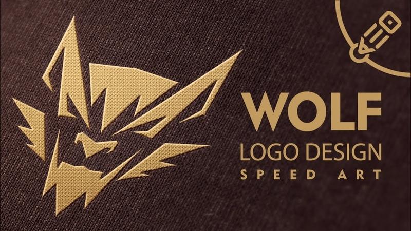 Wolf logo - vector drawing process. Speed Art.