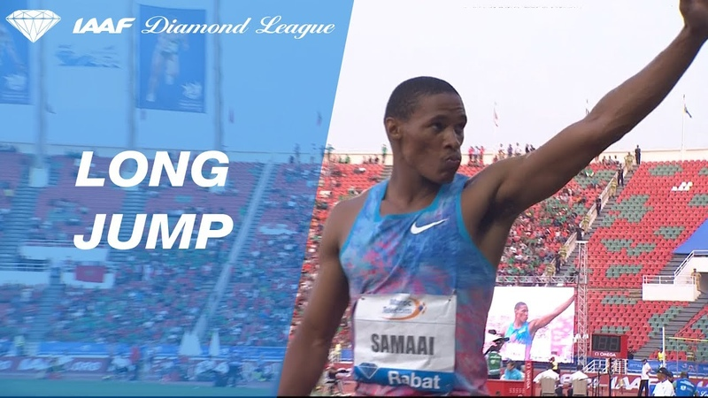 Rushwal Samaai jumps 8.35 to win the Mens Long Jump - IAAF Diamond League Rabat 2017