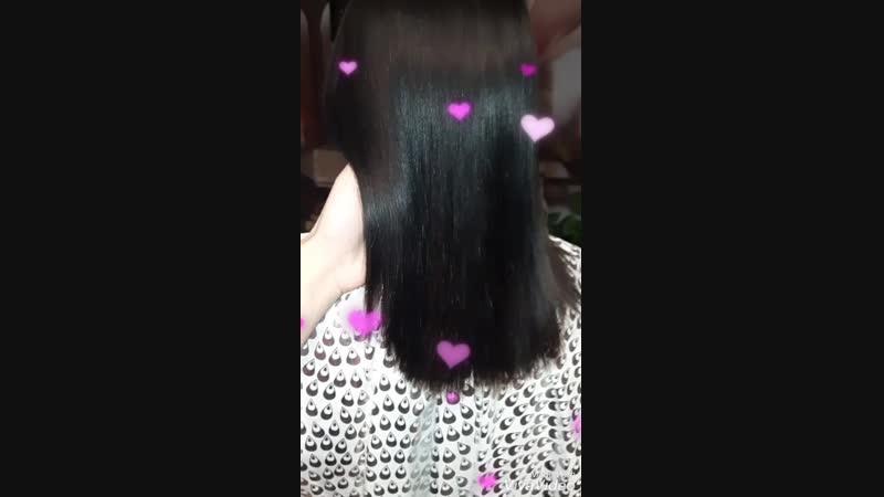 Кератиновое выпрямление волос 🌸Состав полностью смыт, волосы высушены феном без расчески 💜