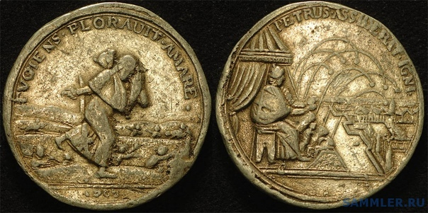 КОГДА НЕВОЛЯ ЛЕНОСТЬ ОТОГНАЛА Памятные медали - не роскошь, но элемент пропаганды. Вот как шведы (или немцы из Гамбурга) в 1700 году отметили ноябрьскую конфузию русских под Нарвой. Пётр здесь