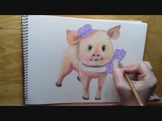 1 Как нарисовать масляной пастелью свинку. pig oil pastel