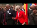 Theresa May dances at South African secondary school