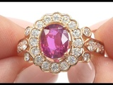 GIA 2.91 tcw VS Clarity Top Gem Single Hue Red Ruby &amp Diamond Cocktail Ring 14k Rose Gold - C953