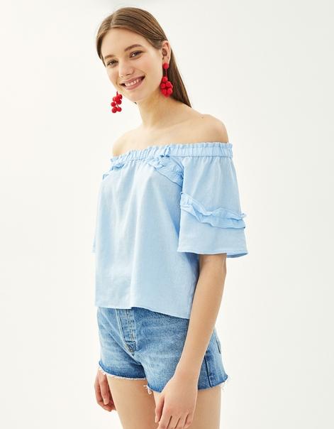 Блуза из льна с открытыми плечами
