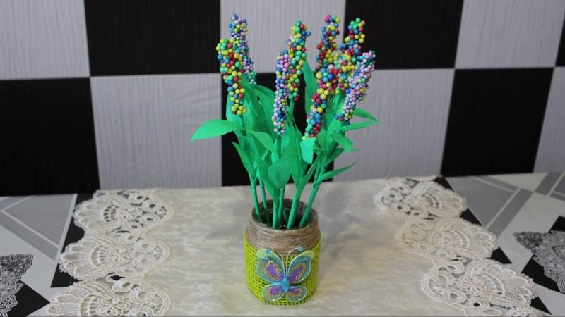 Поделки на 8 марта Как сделать цветы из бумаги и цветных шариков пенопласта своими руками