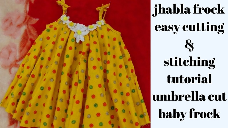 Simple baby frock cutting and stitching in 10 minutes, Baby jhabla DIY  how to make baby frock