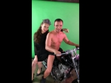 Александр Пистолетов на мотоцикле в студии