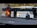 Автобус загорелся на Симферопольском шоссе в Подмосковье