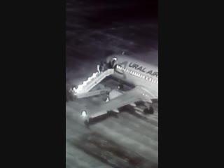 Момент падения пассажиров с трапа в аэропорту Барнаула попал на видео
