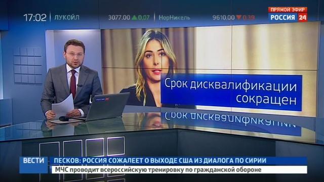 Новости на Россия 24 Россиянка Шарапова вернется на теннисный корт 26 апреля