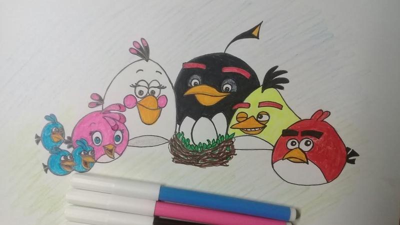 Рисую злых птичек энгри бёрдс / speed drawing angry birds