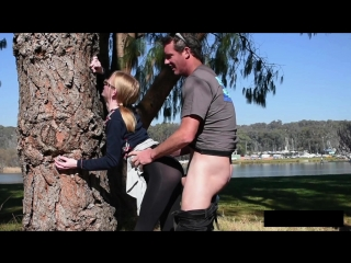 Teen gets fucked in black shiny pantyhose outdoor