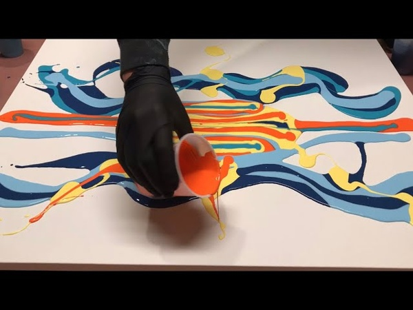 Fluid Painting ACRYLIC PAINT BLOW OUT Wigglz Art A Must See Easy Beginners Technique HUGE CELLS