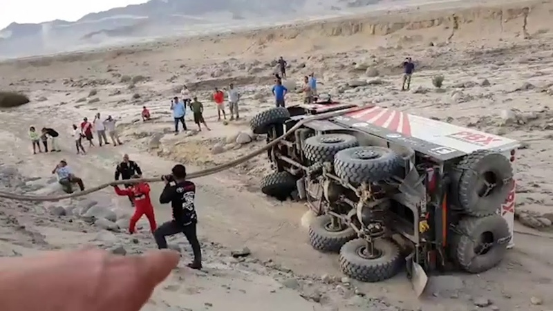 Rally Dakar 2019 - Accidente camión 6x6 - Palibex - Transporte Urgente