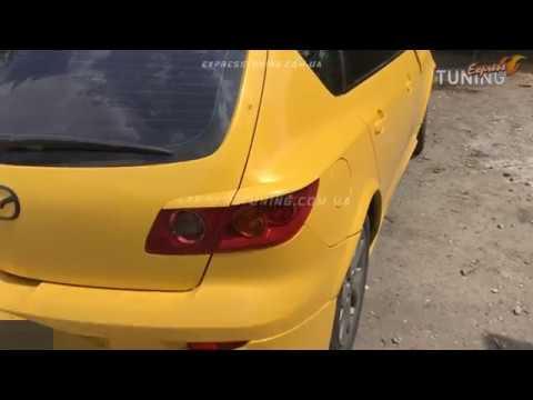 Реснички на задние фары Мазда 3 Хэтчбек. Задние накладки на стопы Mazda 3 5d. AOM Tuning. Обзор