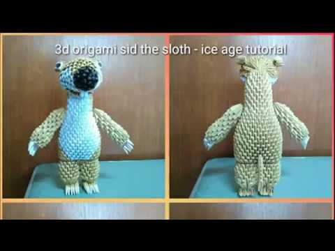 3d origami sid the sloth - ice age tutorial part 3