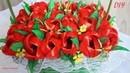 Корзина с тюльпанами из лент basket with tulips from ribbons