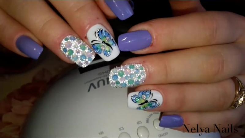 Весенний дизайн! Бабочки на ногтях😍Простые бабочки гель лаком!💅