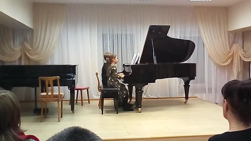 игра на фортепиано с Тимофеем в 4 руки название Подзимелье горного Короля
