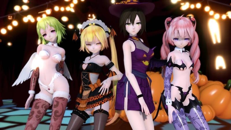 【MMD】AS IF IT'S YOUR LAST - Happy Halloween Gumi, Neru, Meiko and Teto