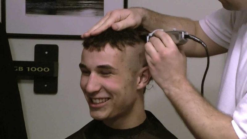 Thomas, full length head shave video