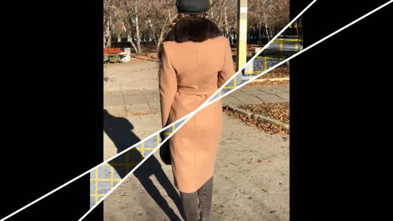 Пальто зима капучино с мехом песец