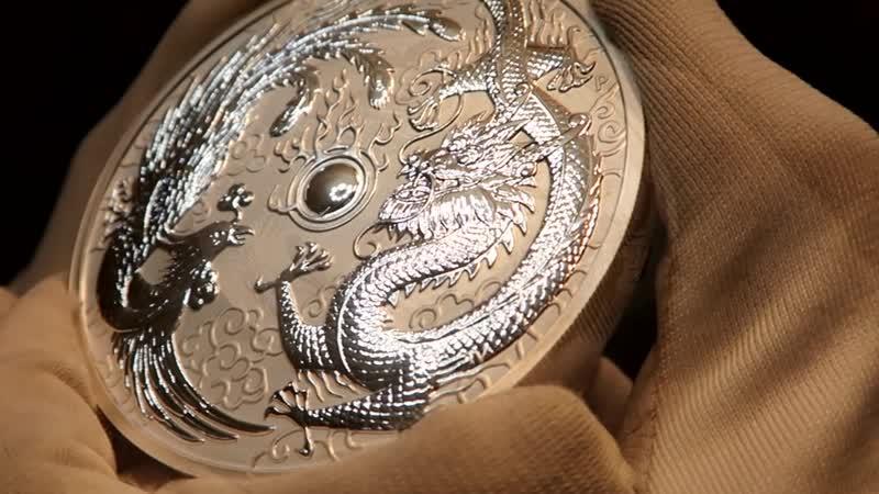 2019 Australia 10 oz Silver Dragon Phoenix BU 10 унцовая серебряная монета Дракон и феникс
