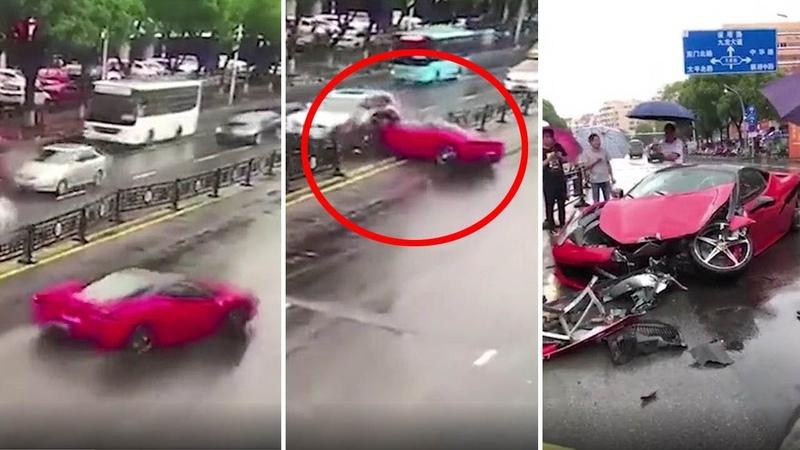 Ferrari driver destroys car in huge crash