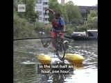 This man built a floating bicycle so he could clean trash from a river in order to raise awareness about plastic pollution!