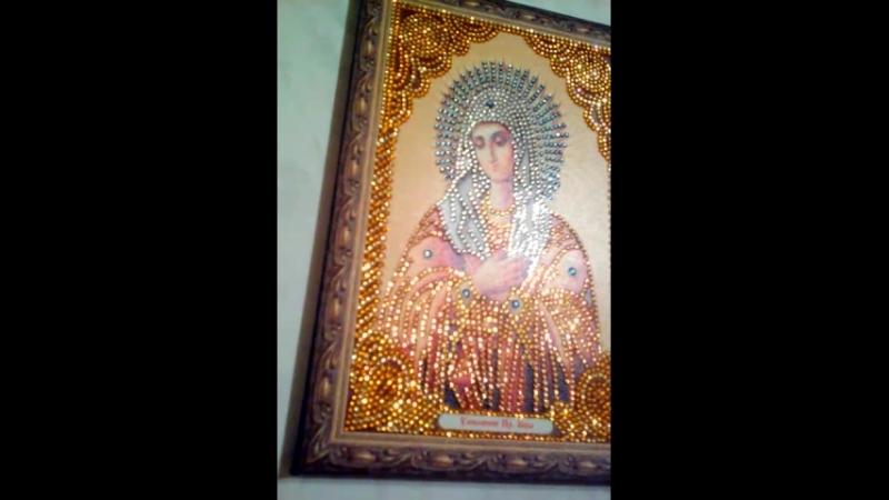 икона Божией матери выложенная стразами