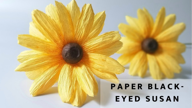 How to make paper daisy flower Black- eyed Susan- Crepe paper flower tutorial Easy