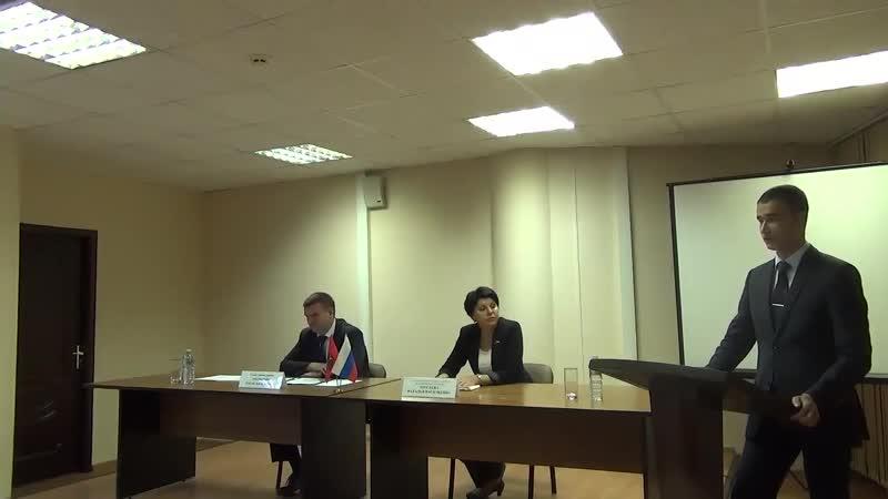 Выступление Председателя Молодёжной палаты Гузанова Д С на встрече главы управы Заковыркина Р В с жителями района