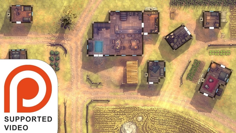 3 Hour Living Battle Map (No Grid) - Plains Village and Tavern, Mid Day