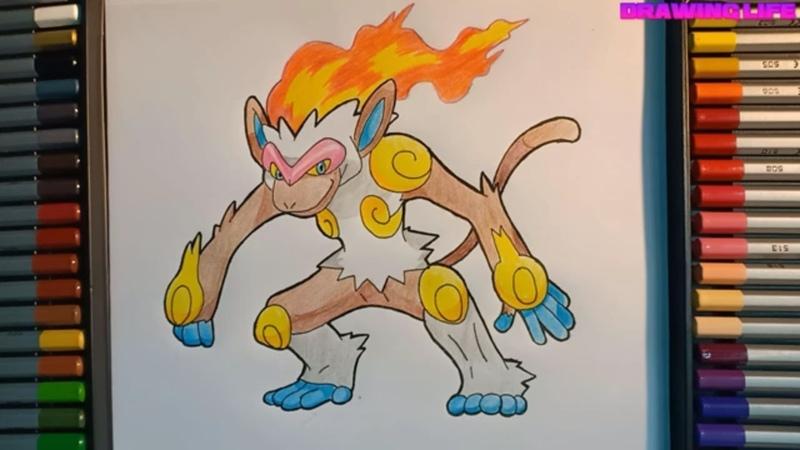 Cách vẽ pokemon khỉ lửa Goukazaru bằng màu chì đơn giản nhất